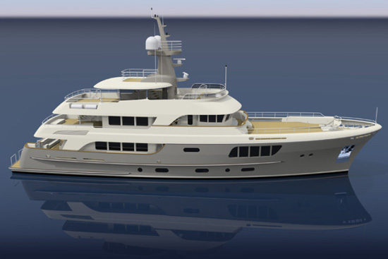 AY44 motor yacht canvas and cover work being completed in New Zealand
