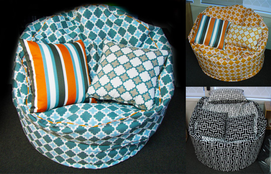 outdoor marine beanbags using warwick fabric